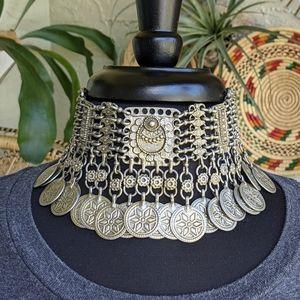 Ben-Amun Choker Necklace Bohemian Ethnic Coins